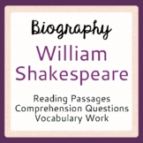 William Shakespeare Biographical Informational Texts, Activities