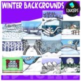 Winter Backgrounds Clip Art Bundle