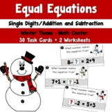 Winter Equal Equations using Single Digit Addition and Sub