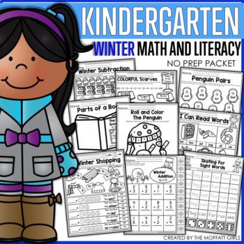 Winter Math and Literacy Packet NO PREP (Kindergarten)