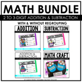 Winter Pals Addition & Subtraction with Regrouping Math Centers