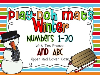 Winter Play-Doh Mats (Numbers 1-30 and ABC)