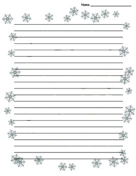 Winter Snowflake Border Lined Paper - TeachersPayTeachers com