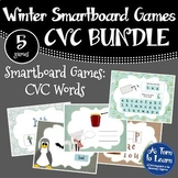 Winter Themed CVC Words BUNDLE of 5 Smartboard or Promethe