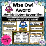 Student of the Month Wise Owl Award - Helps Improve Behavior!