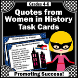 Women's History Month Task Cards Quotes February Games Act