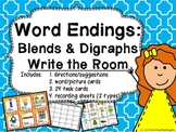 Word Endings: Blends & Digraphs Write the Room {aligned wi
