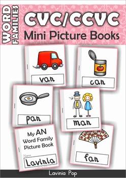 FREE Word Families - CVC & CCVC Mini Picture Books