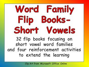 Word Family Flip Books for Kindergarten- Short Vowels