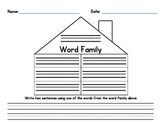 Word Family House Worksheet