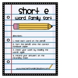Word Family Sort- Short E