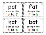 Word Family Task Cards [Changing Beginning Sounds & Writin