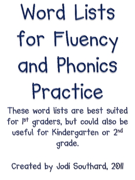 Word Lists for Fluency and Phonics Practice