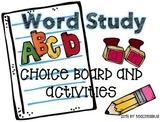 Word Study Choice Board and Activities - Editable