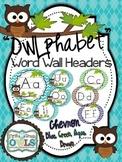 Word Wall Headers Brown Owl Chevron (blue, green, brown, aqua)
