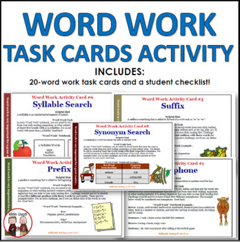 Word Work Activity Task Cards