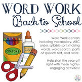 Word Work Centers: Back to School