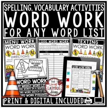 Word Work {NO PREP-20 Print and Go Activities}