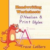 Worksheets 4 Handwriting Practice: D'Nealian/Print Style -