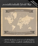World Map Printable - Printable Editable Map Instant Downl