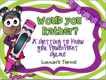 Would You Rather Back to School Getting to Know You PowerPoint Game