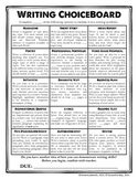 Writing ChoiceBoard (+ Rubric)