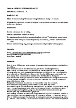 Writing Lesson Plan -  Alexander, Who Used to be Rich Last Sunday