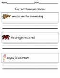 Writing Practice -- Correct These Sentences for Kindergarten!