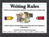 Writing Rules with Author's Quotes Posters