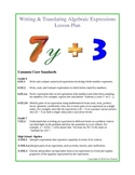 Writing & Translating Algebraic Expressions Lesson Plan