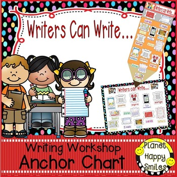 "Writing Workshop Anchor Chart - ""Writers can Write..."""