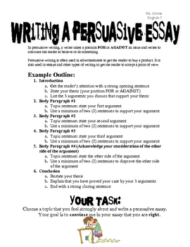 Homework Center: Writing Skills: How to Write a Persuasive Essay