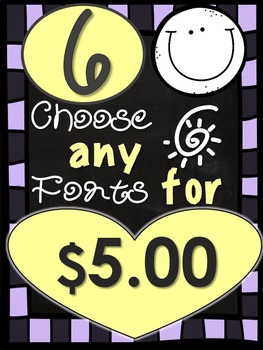YB Fonts - Personal or Commercial Use: CHOOSE ANY 6 FONTS