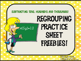 Regrouping Practice Sheet Freebies
