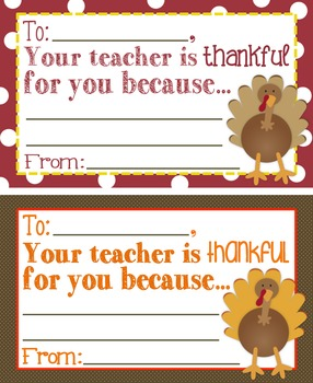 "Thanksgiving ""Your Teacher is Thankful For You Because..."" Cards"