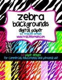 Zebra Backgrounds Digital Paper for Commercial Use