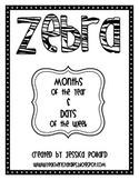 Zebra Months & Days {Freebie}