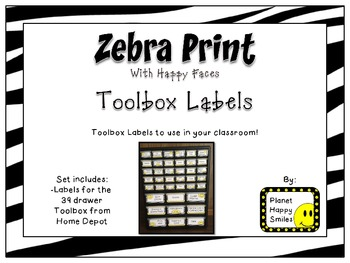 Teacher Toolbox Labels ~ Zebra Print with Happy Faces (Font~Editable)