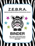 Zebra Themed Binder Covers