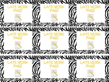 Zebra Themed Classroom Reward Coupons