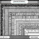 Zentangle 8x10 Border ClipArt, Digital Frame Clip Art, Han