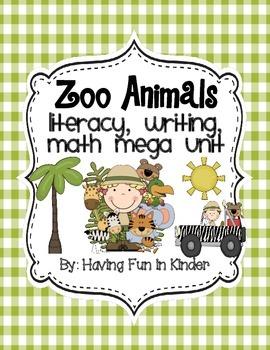 Zoo Animals Literacy, Writing, and Math MEGA Unit
