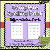 Spelling words and letters for whole year for 2 differenti